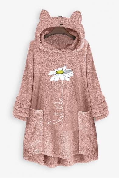Hot Popular Long Sleeve Color Block Flower Print Loose Leisure Warm Fluffy Longline Hoodie