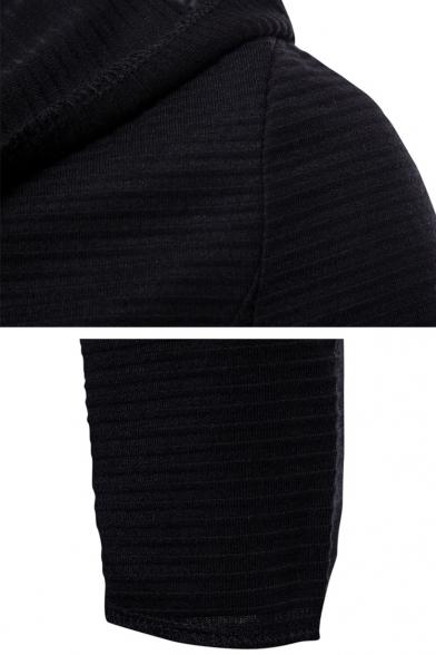 Mens Cool Black Solid Color Long Sleeve Cloak Cardigan Hoodie