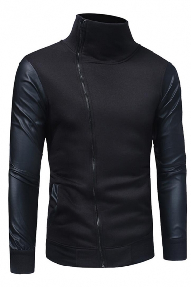 Mens Cool Fashion Solid Color Leather Patched Long Sleeve Diagonal Zip Up Hoodie