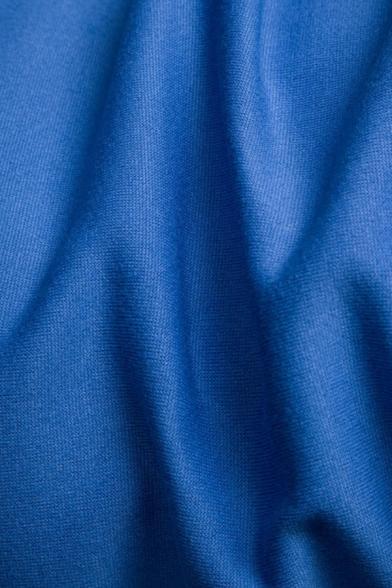 Mens Fashionable Color Block Stripe Long Sleeve Zip Up Drawstring Hoodie