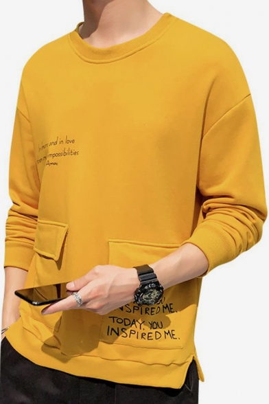 Mens Simple Letter Printed Double Pocket Front Round Neck Long Sleeve Casual Pullover Sweatshirt