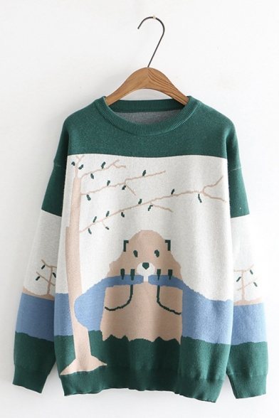 Preppy Style Color Block Bear Pattern Round Neck Knitted Pullover Sweater, LC565516