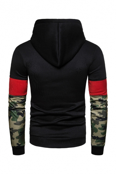 Color Block Camo Panel Long Sleeve Drawstring Hoodie without Pocket