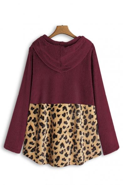 Fashionable Long Sleeve Color Block Leopard Printed Loose Leisure Warm Fluffy Longline Hoodie
