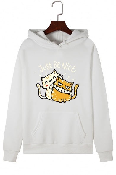 Lovely Letter JUST BE NICE Cats Printed Long Sleeve Pullover Hoodie