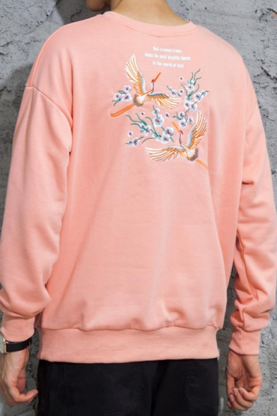 Mens Hot Fashion Crane Floral Letter Print Round Neck Long Sleeve Casual Loose Sweatshirt
