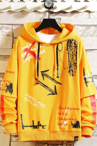 Mens Trendy Letter Graffiti Printed Long Sleeve Casual Sports Pullover Hoodie