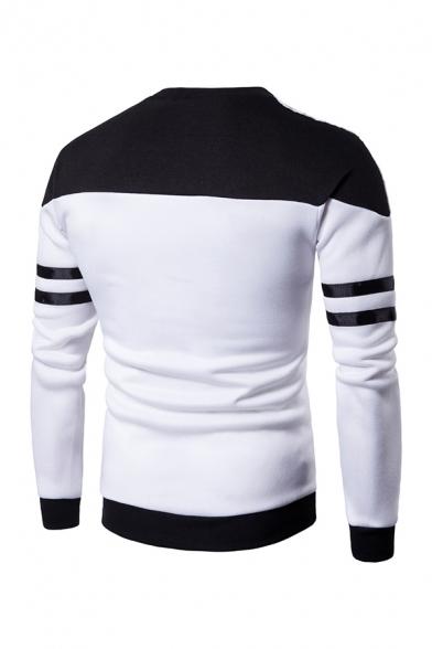 Round Neck Colorblocked Stripe Long Sleeve Casual Sweatshirt for Men