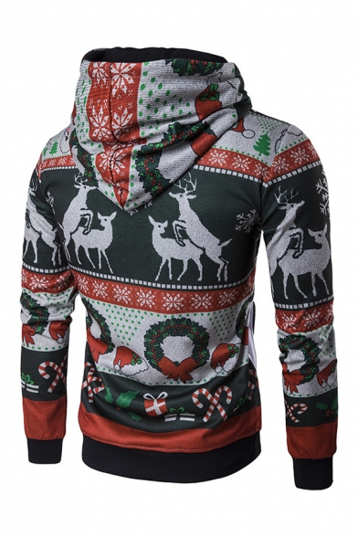 Stylish David's Deer Candy Bow Printed Long Sleeve Christmas Pullover Hoodie