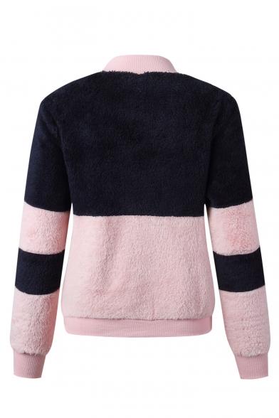 Women's Fashion Stand Collar Color Block Faux Fur Teddy Long Sleeve Zip Up Sweatshirt