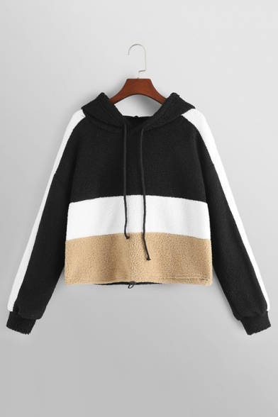 Autumn Stylish Colorblocked Patchwork Long Sleeve Drawstring Hood Cropped Plush Hoodie