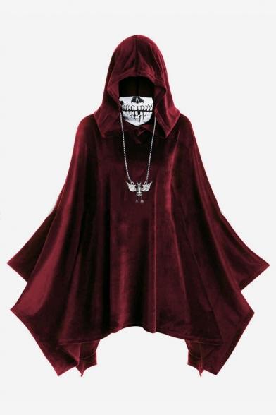 Halloween Theme Plain Skull Print High Collar Hooded Poncho Asymmetric Hem Hoodie