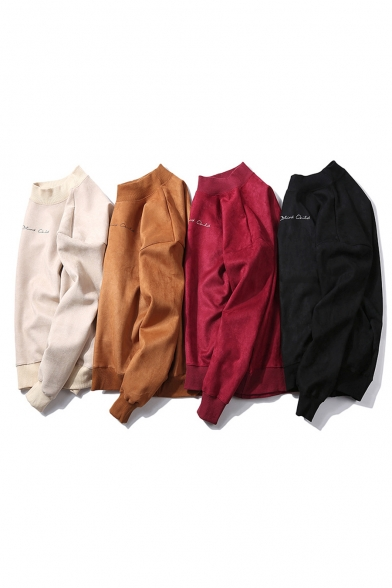Men's New Stylish Simple Letter Print Long Sleeve Stand Collared Casual Pullover Sweatshirt