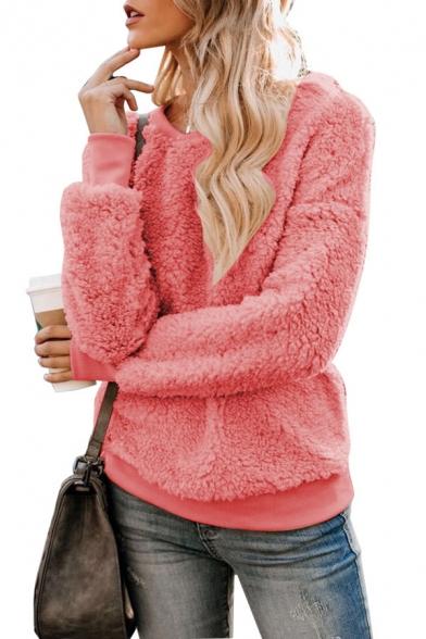 New Fashion Round Neck Long Sleeves Plain Fluffy Teddy Pullover Sweatshirt, Black;burgundy;pink;gray;khaki, LM564619