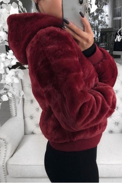 Women's Fashion Plain Warm Fluffy Teddy Long Sleeve Zip Up Hoodie