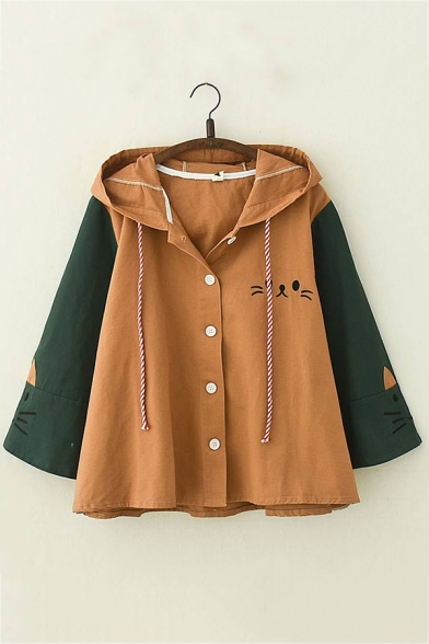 Cat Embroidery Color Block Long Sleeve Single Breasted Loose Relaxed Coat Jacket