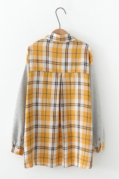 Check Pattern Fold-Over Collar Long Sleeve Chest Pocket Single-Breasted Loose Relaxed Shirt