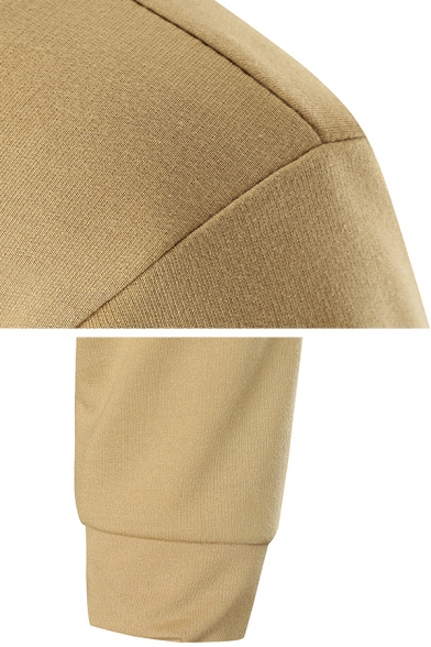 Classic Men's Plain Long Sleeve Open-Front Dual Pocket Long Hoodie