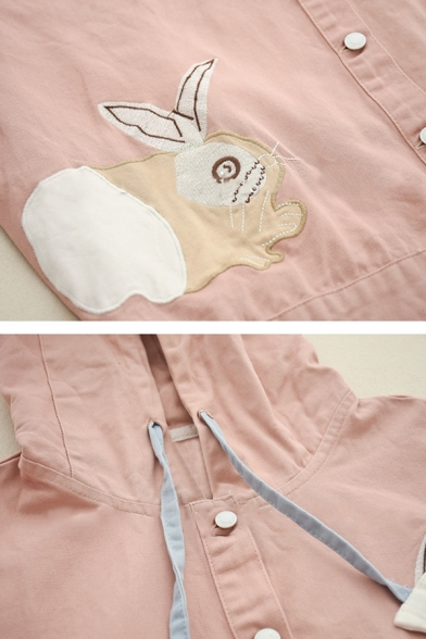 Cute Rabbit Embroidery Color Block Flap Pocket Hooded Casual Jacket