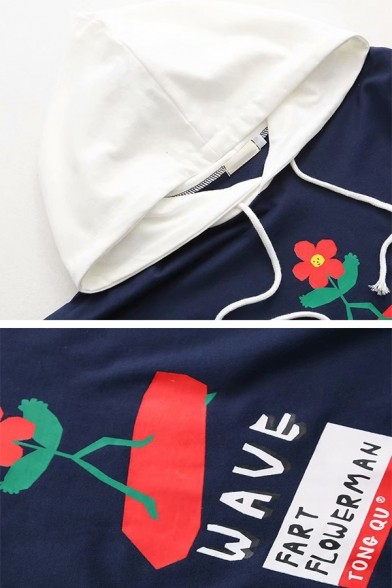 Navy and White Letter WAVE Funny Flower Printed Fake Two Piece Drawstring Hoodie