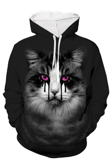 New Fashion 3D Horror Cat Printed Long Sleeve Casual Drawstring Hoodie, LC565446