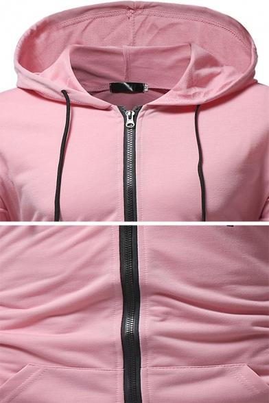 Pop Men's Whole Colored Pleated Long Sleeve Slim Fit Zipper Drawstring Hoodie