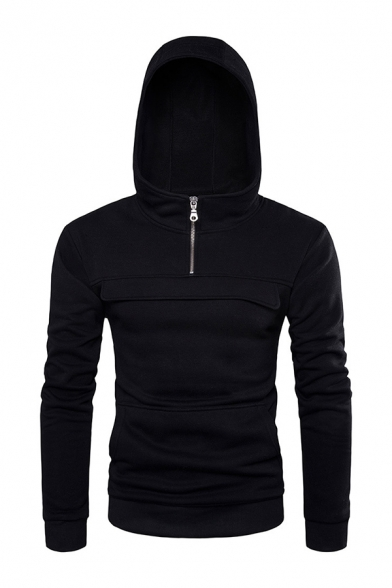 Solid Color 1/4 Zip Long Sleeve Baseball Pullover Hoodie for Men