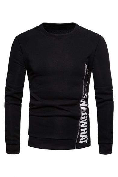 Solid Color Letter Zipper Embellished Long Sleeve Round Neck Pullover Sweatshirt