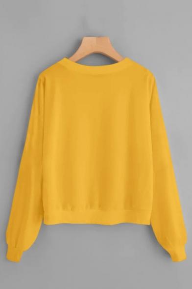 Creative Cat Letter Print Round Neck Long Sleeve Plain Pullover Sweatshirt