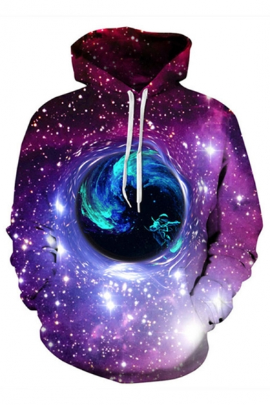 Fashion Digital Galaxy Planet Trippy Space Pattern Long Sleeve Purple Hoodie