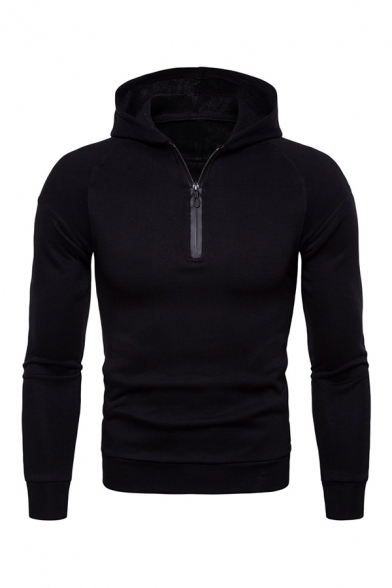 Fashion Plain Half Zip Long Sleeve Hooded Hoody for Men
