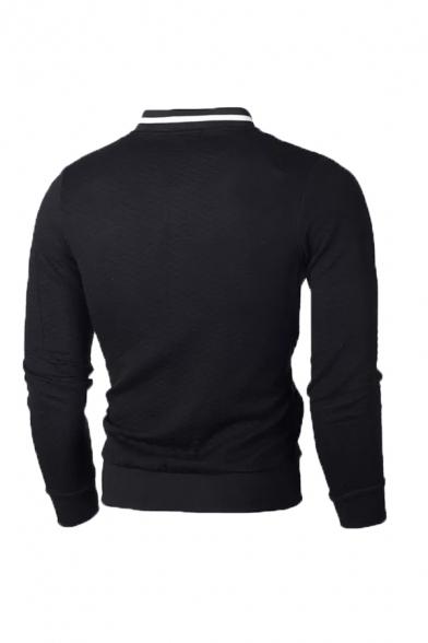 Men Fashion Stand Collar Plaid Embossing Zipper Slim Fit Sweatshirt