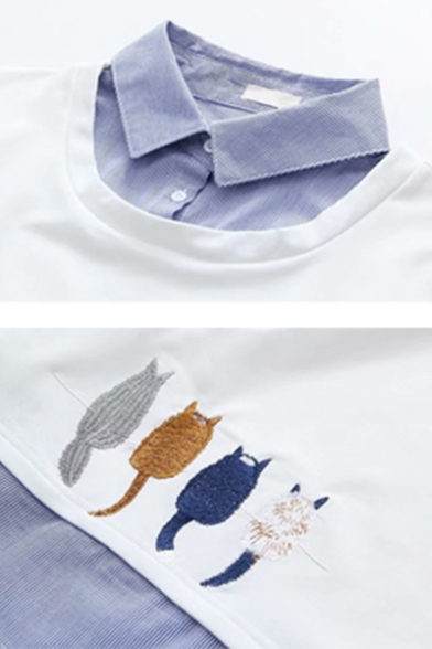 Preppy Style Cartoon Cat Embroidery Patched Long Sleeve False Two Pieces Loose Sweatshirt