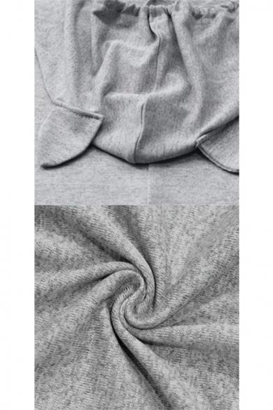 Sleeping Cat Print Irregular Hem Plain Drawstring Long Hoodie with Ear