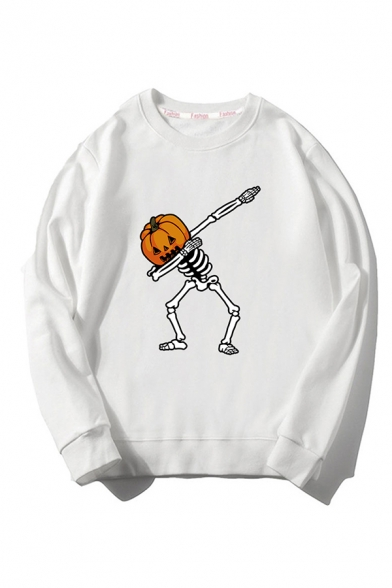 New Stylish Pumpkin Skull Printed Long Sleeve Round Neck Unisex Casual Sports Loose Fit Pullover Sweatshirt