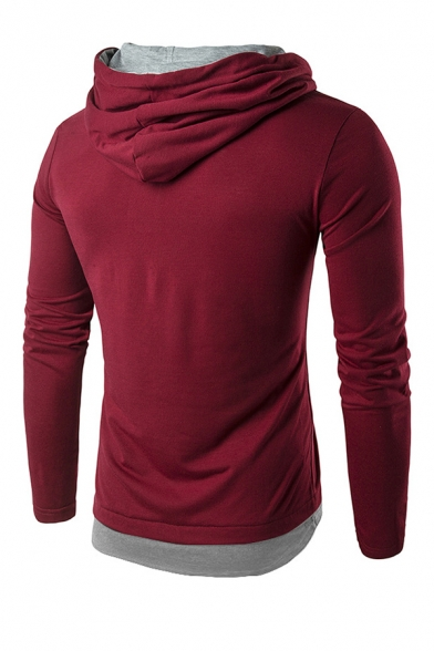 Simple Color Blocking Button Front Long Sleeve Drawstring Henley Hoodie