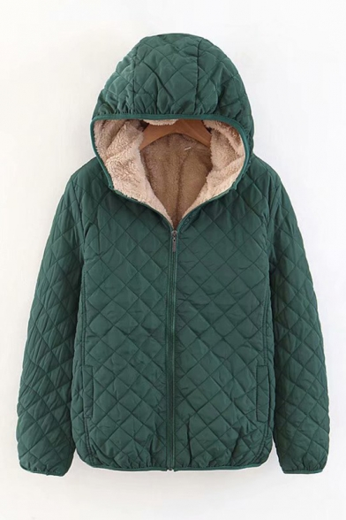 Winter Fashion Plain Sherpa Lining Zip Up Diamond Quilted Hooded Jacket Coat