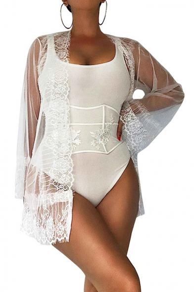 Womens Sheer Lace Crochet Hem Long Sleeve Sexy Four Pieces Bikini Set Swimwear, LC565589, Black;white