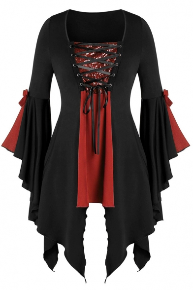 Halloween Women Gothic Lace Up Sequins Panel Flare Sleeve Irregular Blouse Top