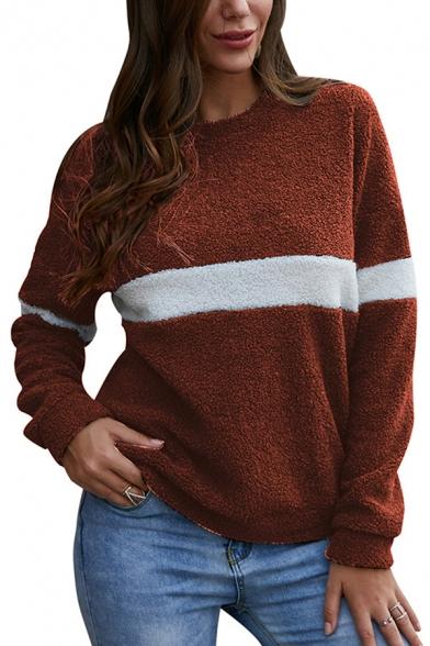 Hot Fashion Color Block Long Sleeve Round Neck Fluffy Teddy Leisure Sweatshirt