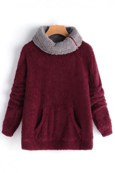 Hot Fashion Plain Zipper Turn-Down Collar Long Sleeve Fluffy Teddy Sweatshirt, LM564638, Burgundy;pink