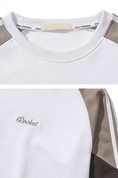 Men's Cool ROCKET Letter Embroidered Colorblock Patched Long Sleeve Round Neck Casual Sweatshirt