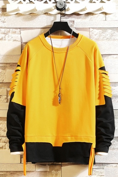Men's New Popular Colorblock Print Ripped Fake Two-Piece Long Sleeve Casual Sweatshirt
