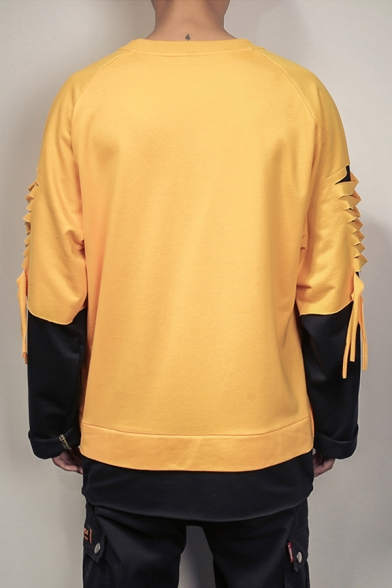 Mens Cool Ripped Designed Colorblock Long Sleeve Round Neck Fake Two-Piece Sweatshirt