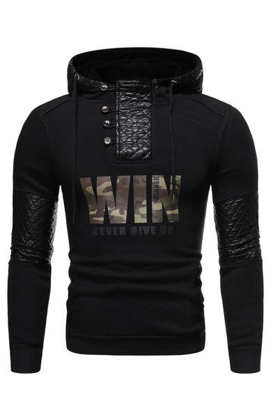 Mens Stylish Camouflage Letter WIN NEVER GIVE UP Printed Button Front Leather Patched Long Sleeve Casual Slim Fit Hoodie