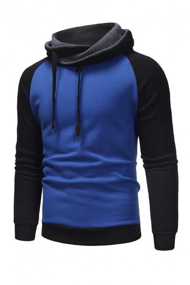 Mens Stylish Cowl Collar Color Blocked Raglan Sleeve Pullover Sweatshirt
