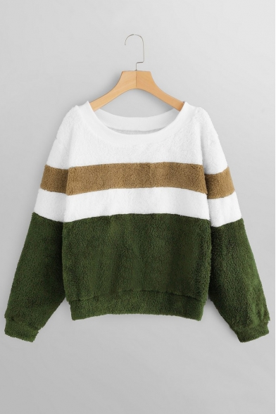 Popular Color Block Round Neck Long Sleeves Green Fluffy Teddy Sweatshirt, LM564552