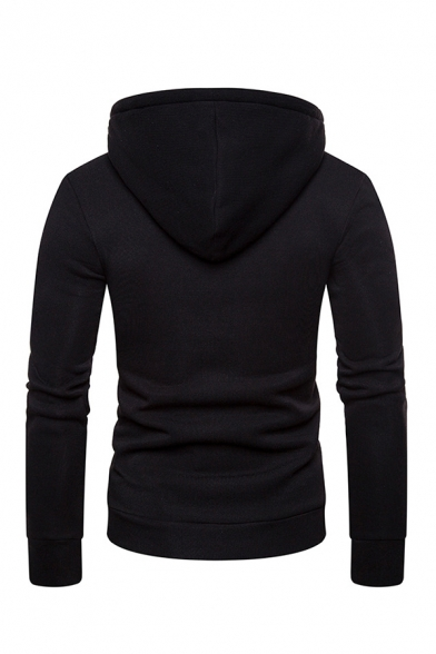 Simple Lace-Up Front Pouch Pocket Long Sleeve Plain Fitted Hoodie