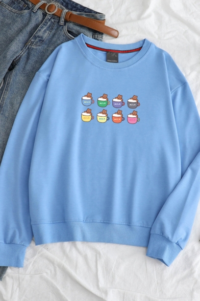 Students Cute Cartoon Pattern Round Neck Long Sleeve Pullover Sweatshirt