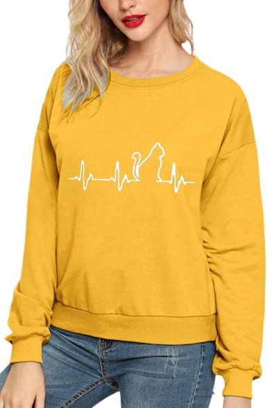 Stylish Cat Print Round Neck Long Sleeve Casual Loose Plain Pullover Sweatshirt